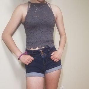 Purple/gray halter top